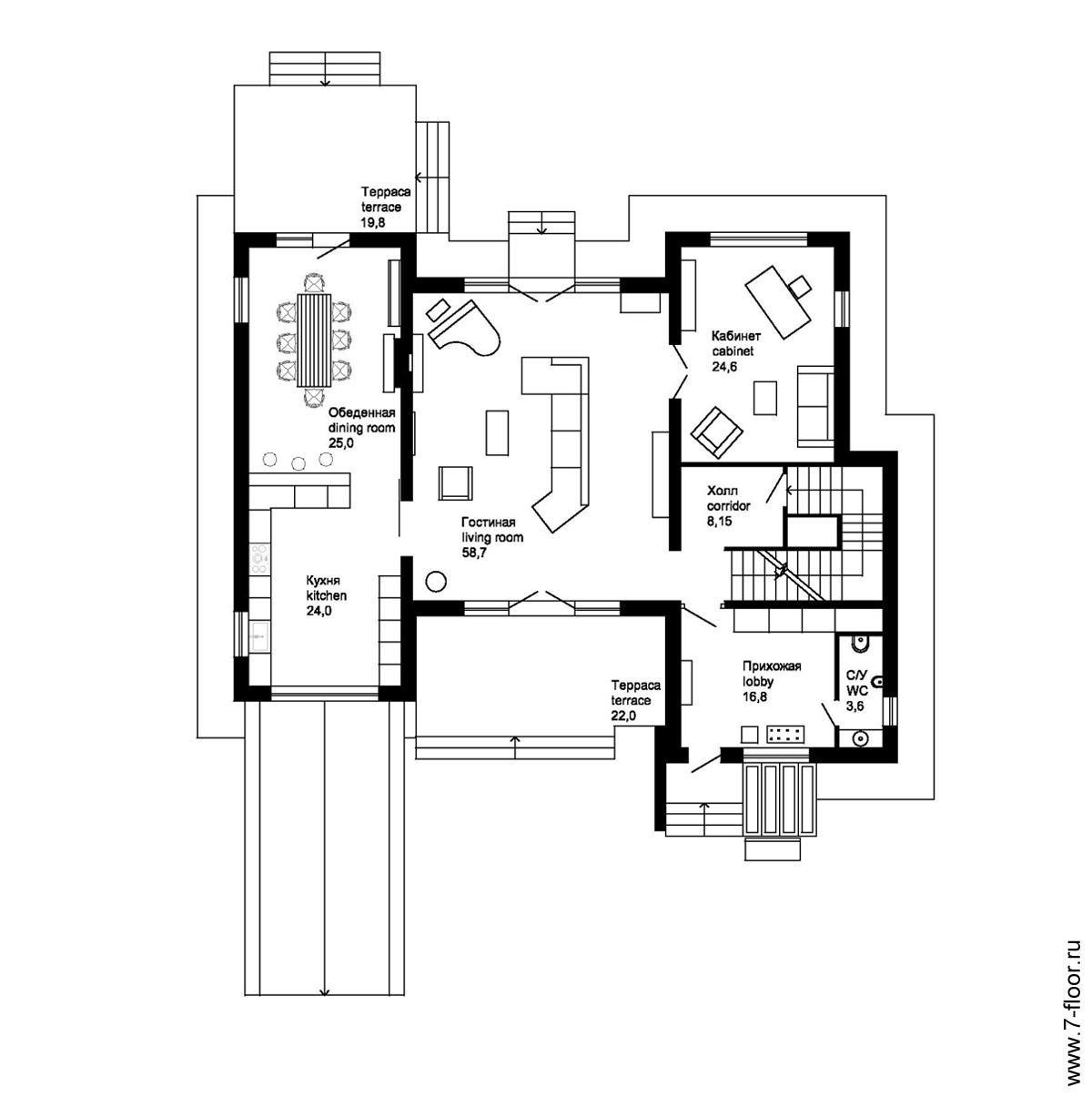 Проект-двухэтажного-жилого-дома-T-house-план-1-го-этажа-11