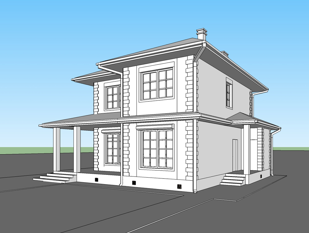 Проект-загородного-дома-из-арболита (модель)